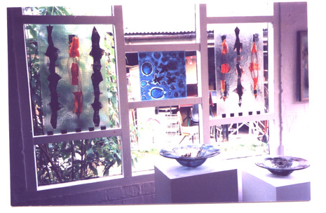 Various glass panels with inclusions - exhibited at Open Studios