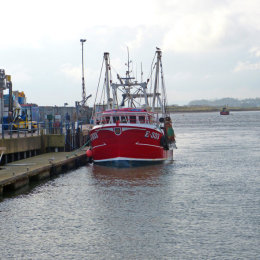 A trawler in Exmouth Harbour