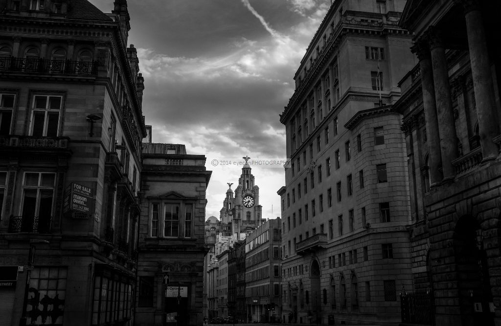 Down the city blocks to the Liver Buildings
