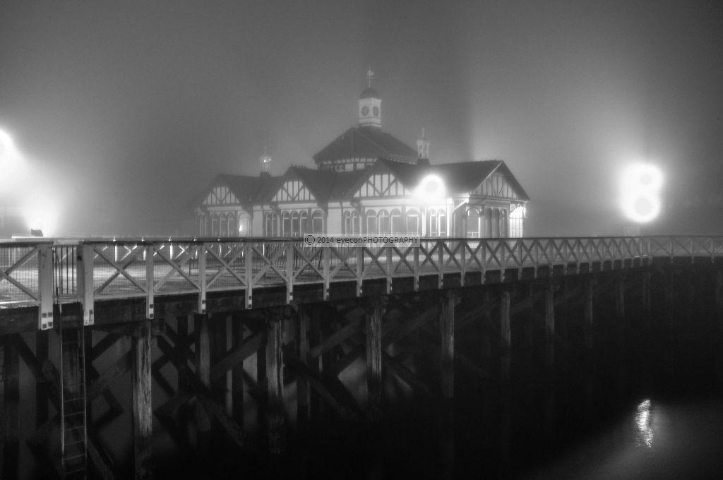 Dunoon pier in fog
