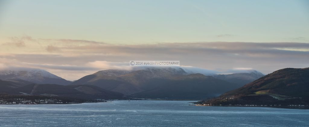 Evening winter light over Holy Loch from the air.