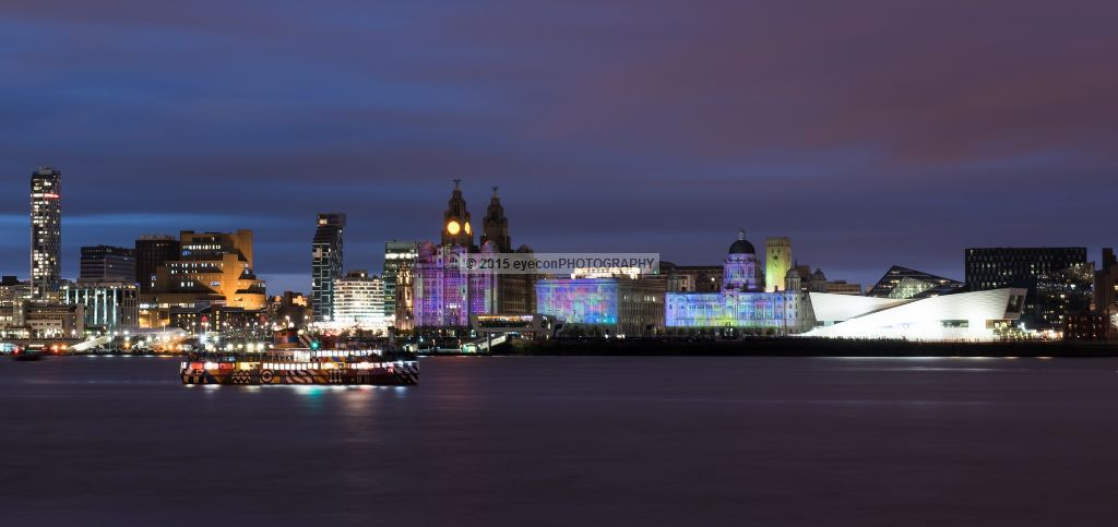 Thee Graces and a Mersey Ferry Illuminated