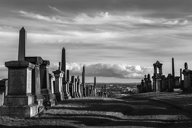 glasgow necropolis overlooking the city.