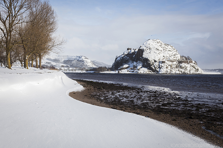 dumbarton castle in the snow.