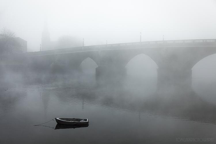 dumbarton bridge through the mist.
