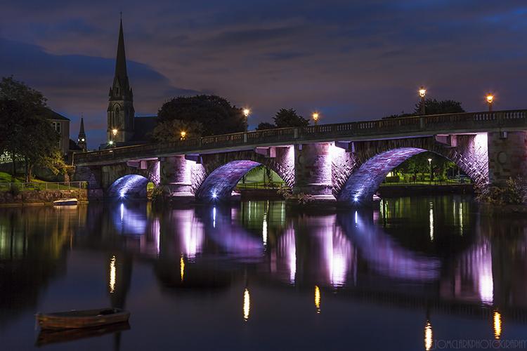 old bridge and spires.