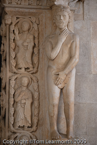Adam, west portal of St lawrence's Cathedral, Trogir