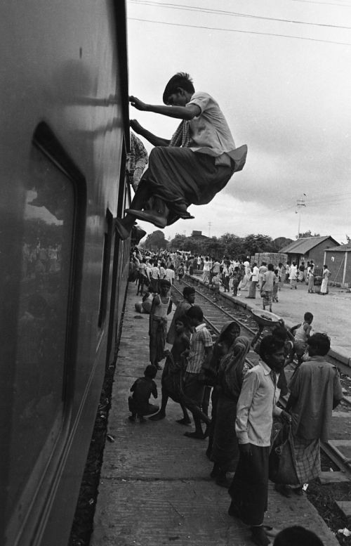 Climbing on roof of a train