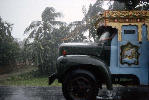Truck in rainstorm