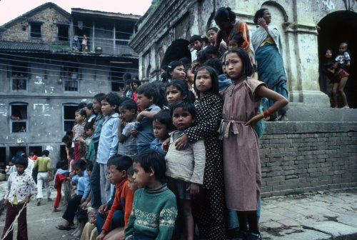 Gai Jattra festival spectators, Kirtipur