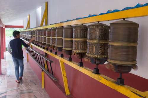Manali temple prayer wheels