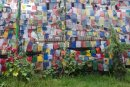 Manali temple prayer flags