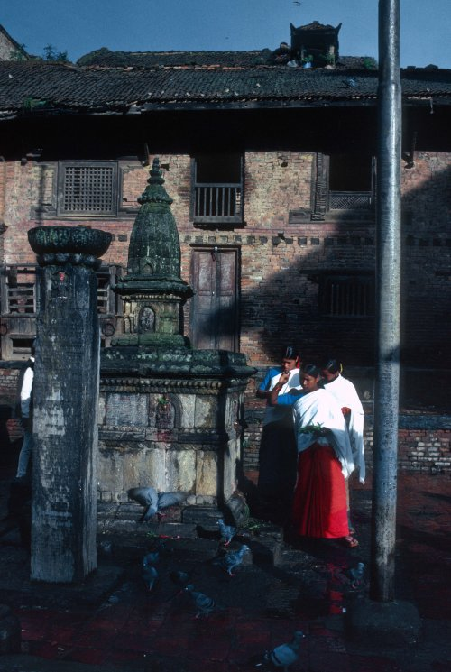 Early morning puja at Bagh Bhairab temple, Kirtipur