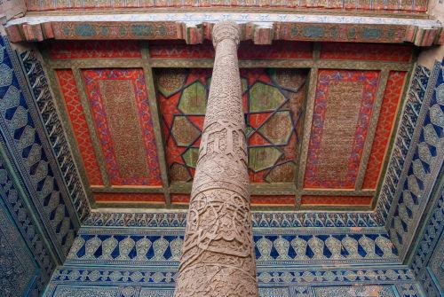 Khiva, Kunya Ark throne room ceiling