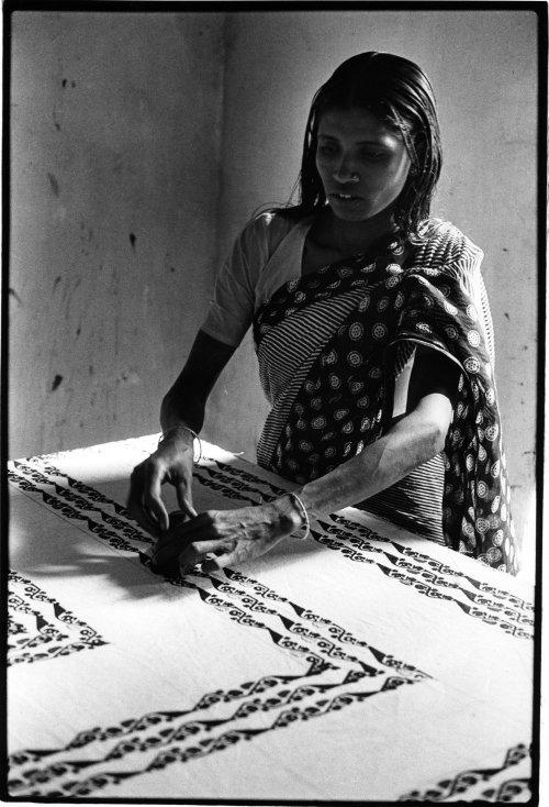 Savar, bangladesh woman block printing