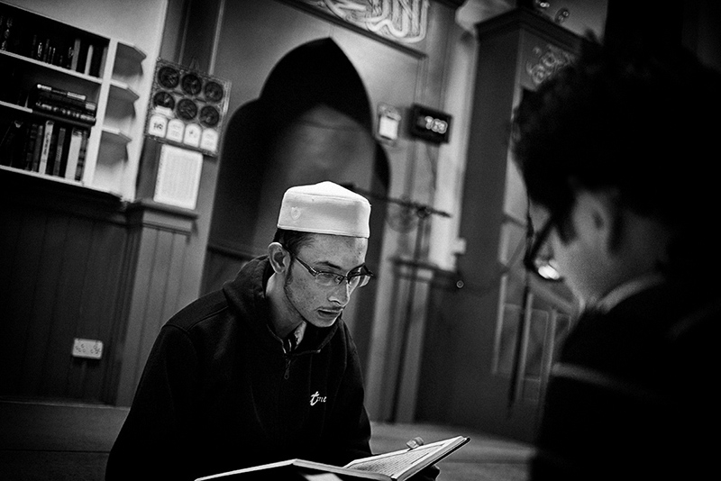 Malaysian students pray at Dublin mosque, Ireland