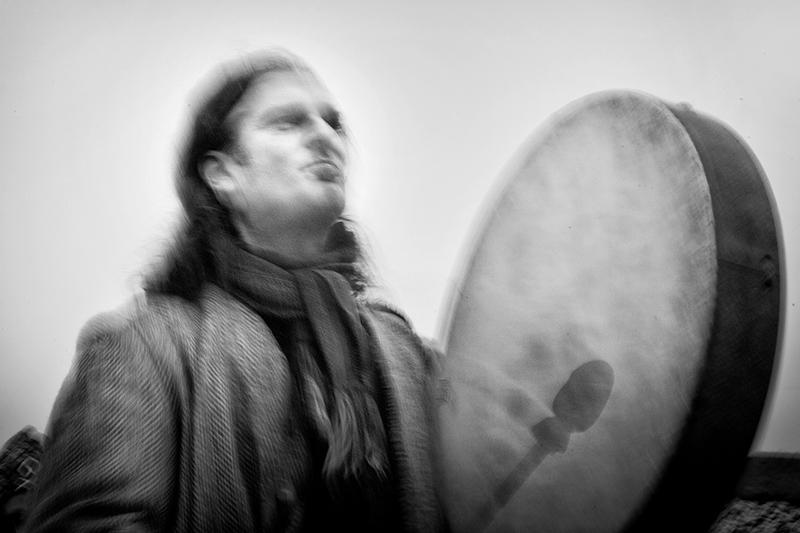 John Cantwell with bodhrán, Newgrange