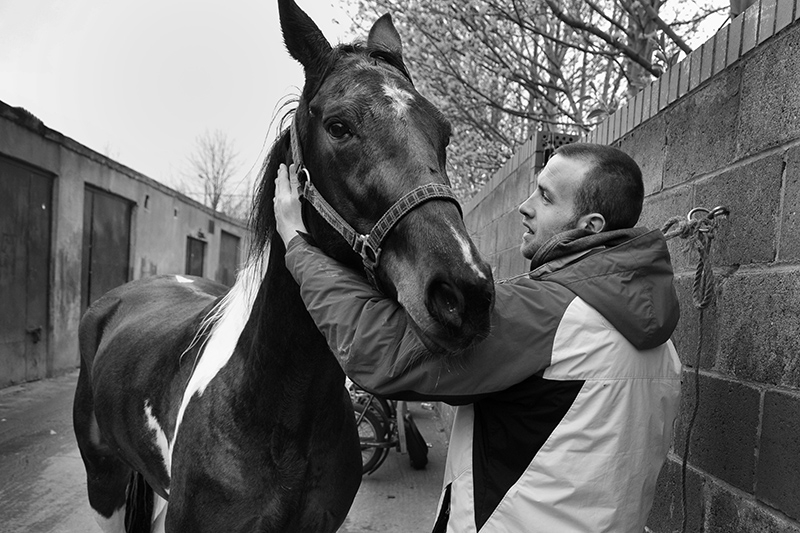 Young man and his horse, Dublin