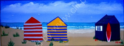 Beach Huts and Surf Board