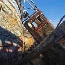 Wheelhouse of decaying fishing boat
