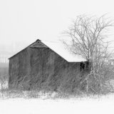 Farm hut in the snow