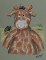 A4 Pastel 'Geoffrey the Giraffe'