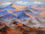 Sunset over mountains - palette knife oils
