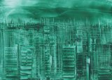Encaustic Cityscape - Wax painting using hot iron techinques