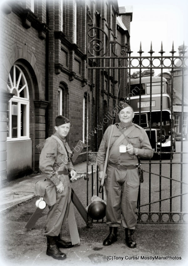 Home Guard at the station gates