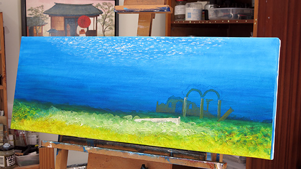 32 inch wide painting in progress