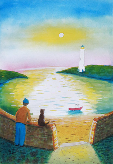 The Fisherman and his Cat - Sunset