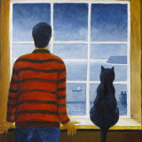 The Fisherman and his Cat - Rainy Day