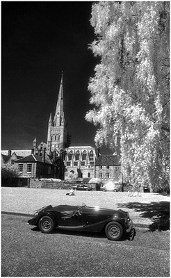 Morgan Car by Norwich Cathedral Mono Image