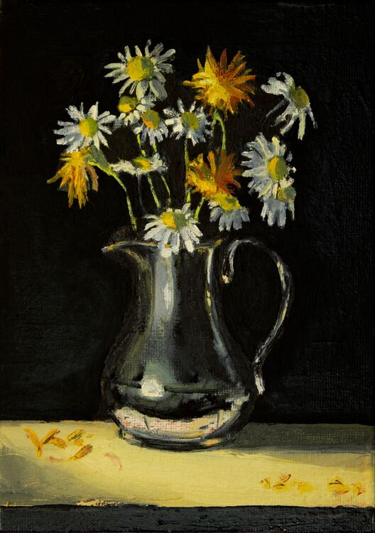 Still Life with Calendula and Oxeye Daisies (SOLD)