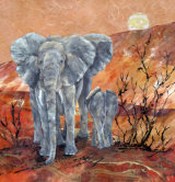 Elephant Mother and Baby 45x45cm