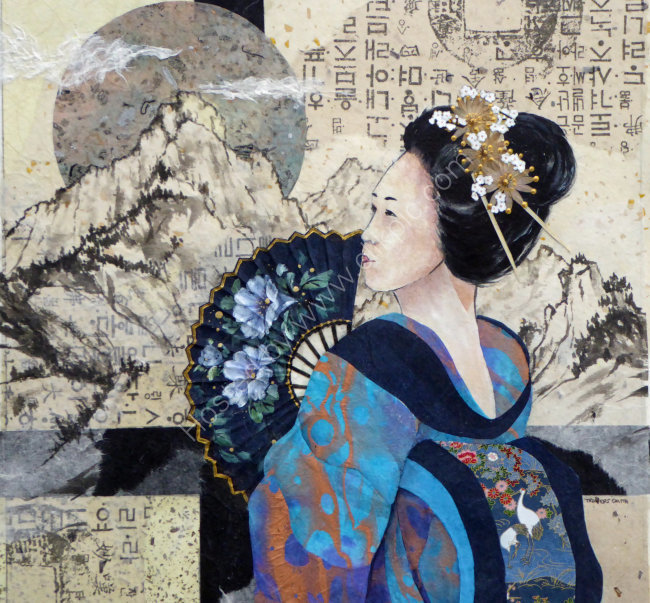 Geisha with Fan 45x45cm