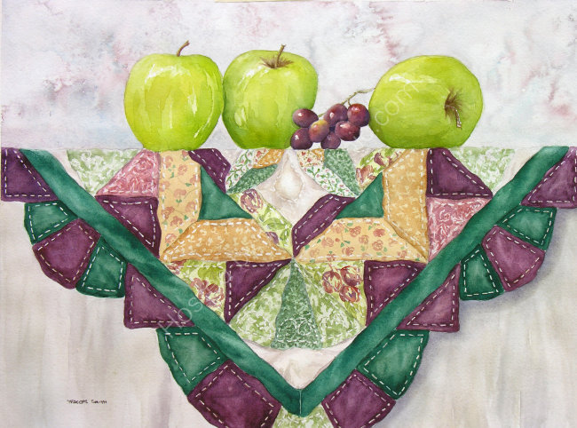 Apples on a Quilt 30x37cm