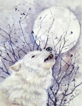 Wolf Howling at the Moon 30x45cm
