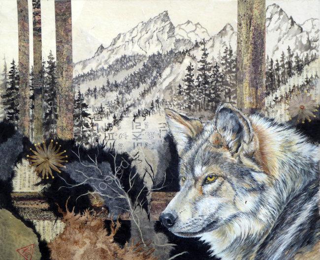 Wolf at String Lake 45cmx60cm