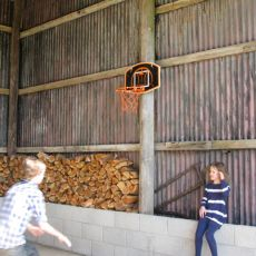 Basketball in the steel barn