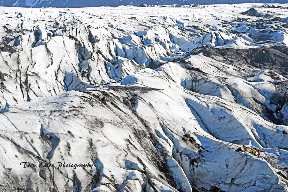 Glacier hiking: Solheimajokull Glacier.