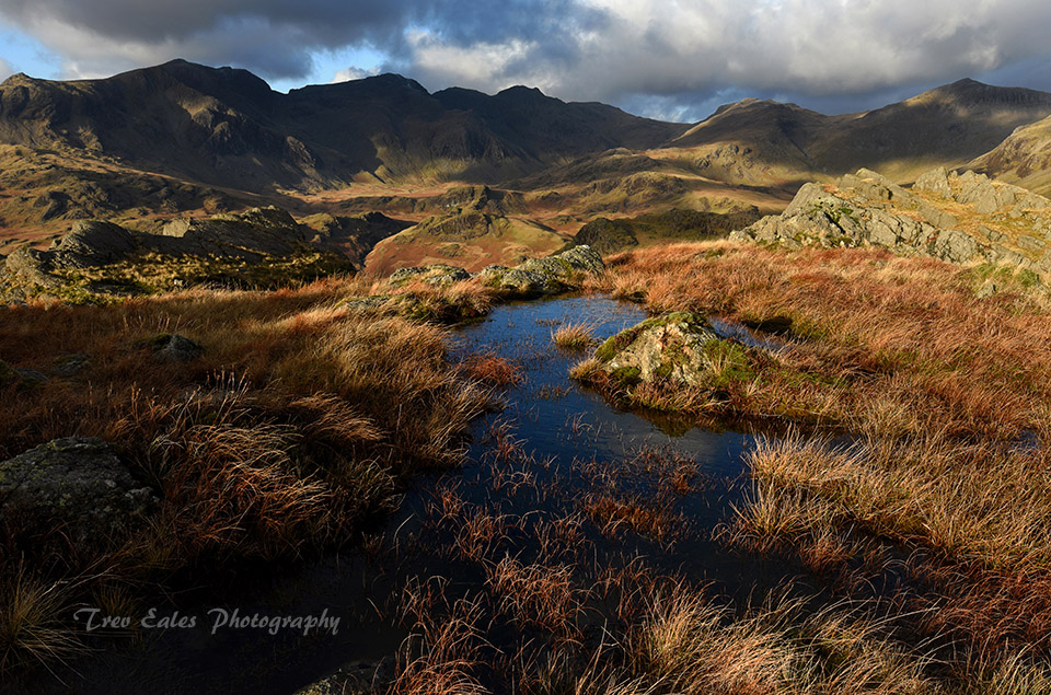 The Scafells from Hard Knott.