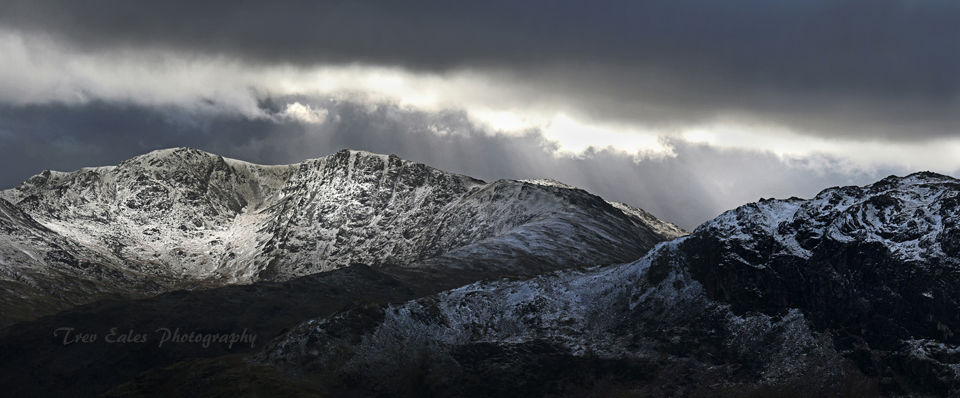 Winter light: Swirl How, Great Carrs and Little Carrs and Hell Gill Pike.