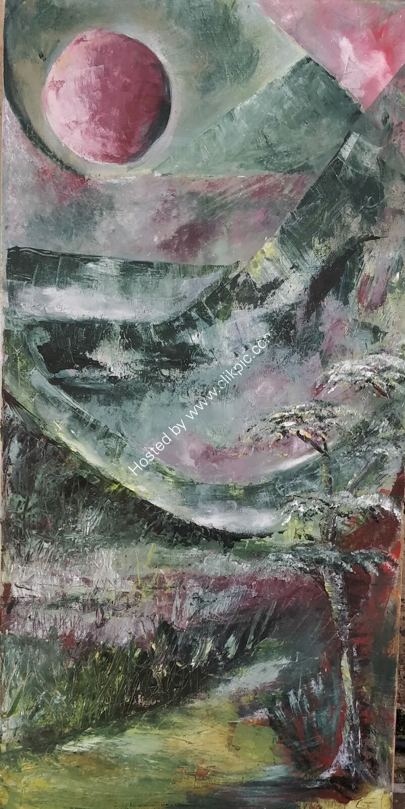 Imagniery abstract acrylic landscape