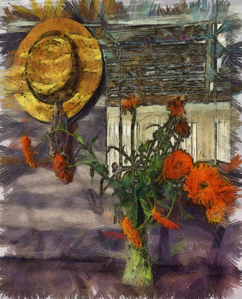 Hat and flowers - John Hufferdine