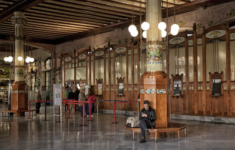 Wood - panelled booking hall