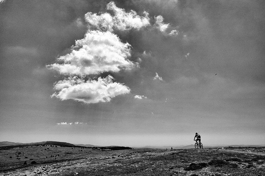 Solitary biker