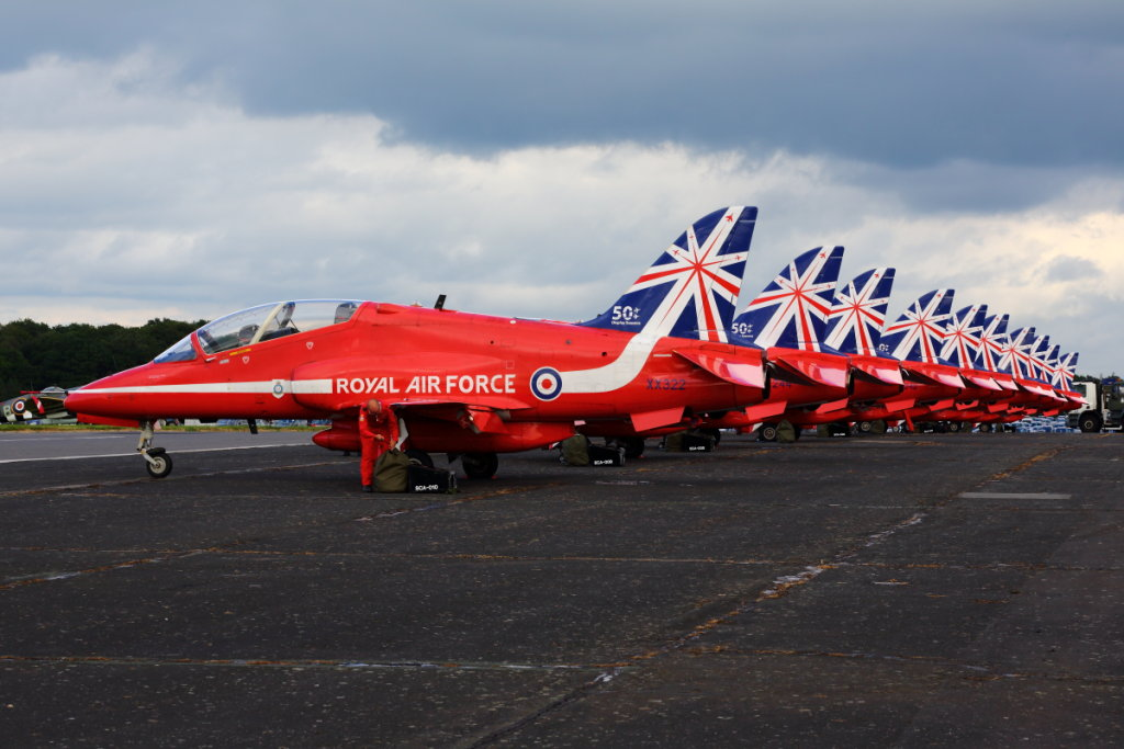 Red Arrows Line-up at Biggin Hill celebrates 50 years