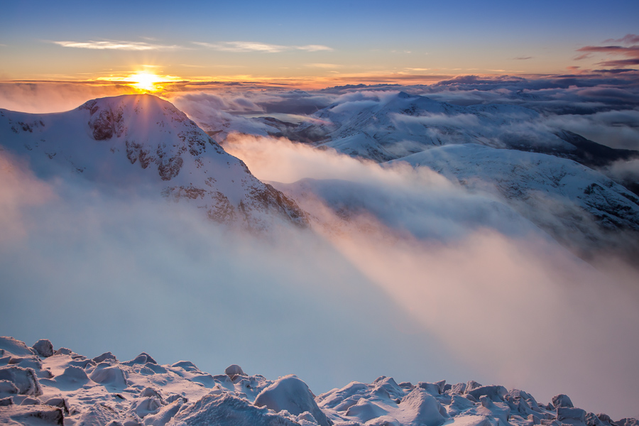 Sunset over Stob Coire nam Beith from Stob Coire nan Lochan's summit.