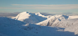 Soft winter light and a view to Glen Coe's highest mountains